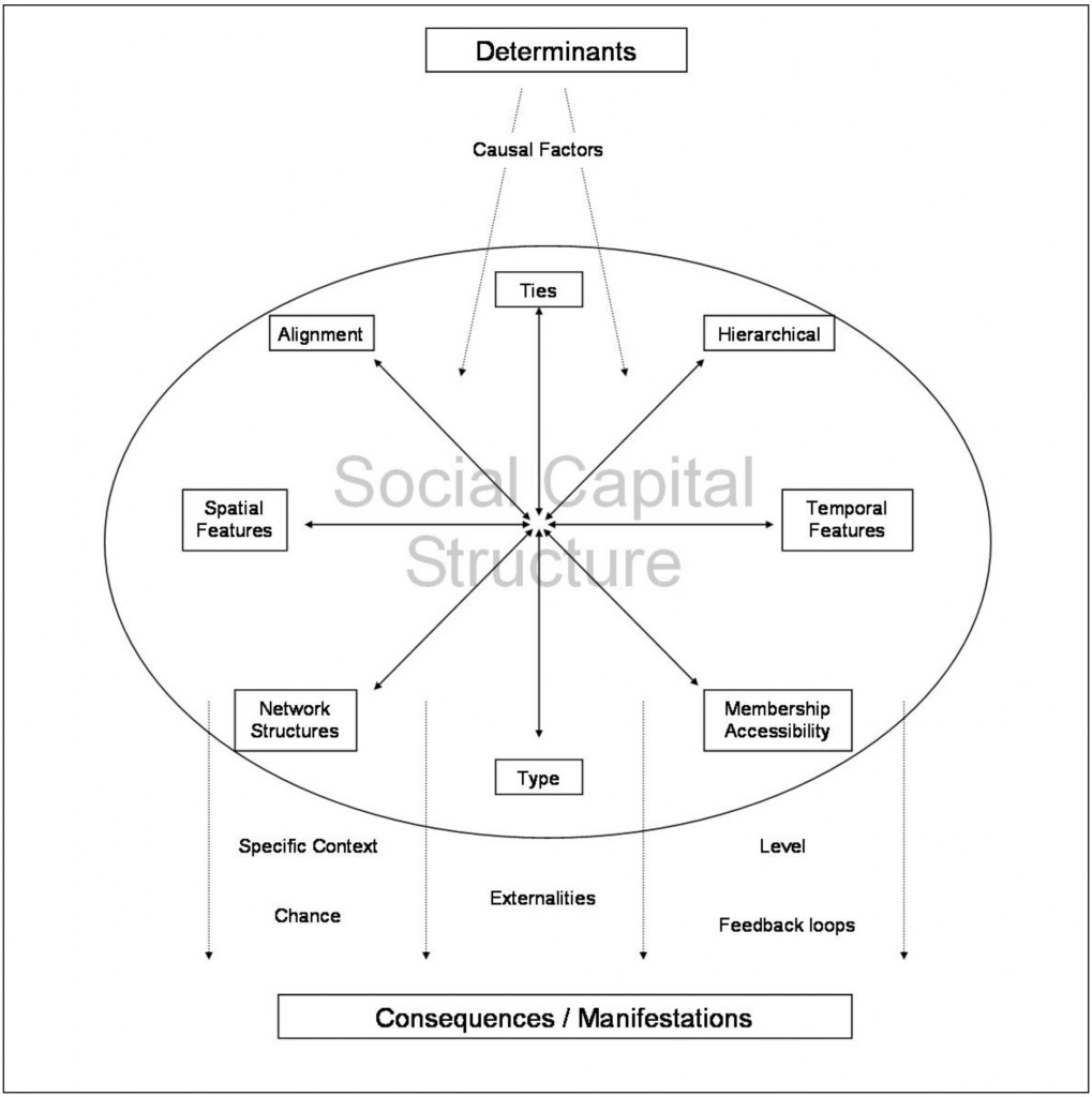 Conceptualization of social capital simplifying the complexity of the social world into a diagram outlining relationships between determinants, structure (or elements) and consequences.